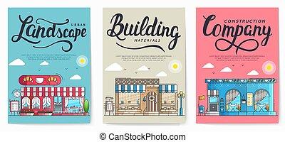 concept., pesado, local, trabalhando, vetorial, trabalho, veículos construção, apartamento, trabalho, construtores, trabalhadores, desenho, illustration.