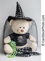 concept, petit, sorcière, bourré, halloween, hat.the, jouet, ours