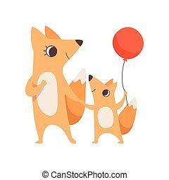 concept, peu, balloon, tenue, elle, famille, renard, illustration, parenting, vecteur, petit, mère animale, bébé, mains, rouges, aimer