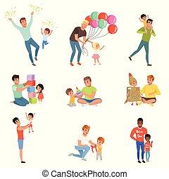 concept, peu, bon, paternité, ensemble, pères, jouer, leur, vecteur, fond, temps, illustrations, blanc, apprécier, qualité, enfants, heureux