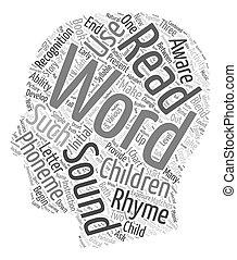 concept, phonemic, tekst, wordcloud, achtergrond, kind, aanleren, jouw, bewustzijn