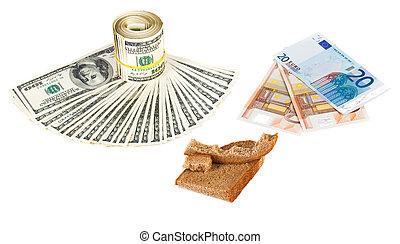 concept, photo, croûte, monnaie, euro, blanc, économie, crise, pain