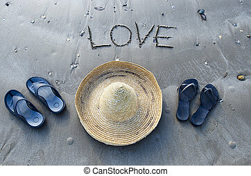 Concept Photo - Love and Relationship - Inscription love on...
