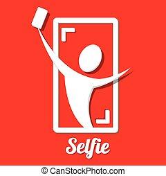 concept, photo, prendre, téléphone, selfie, intelligent, icône