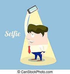 concept, photo, prendre, téléphone, selfie, intelligent