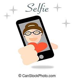 concept, photo, selfie, illustration, téléphone, girl, prendre, intelligent