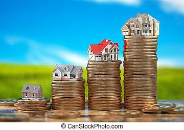 concept., pièces., maisons, propriété, taille, différent, propriété investissement, vrai, piles, hypothèque