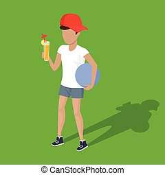Concept Picnic Boy with Ball and Juice