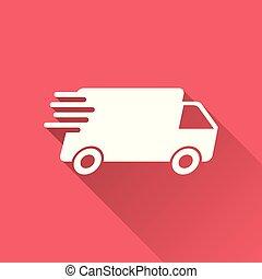 concept, pictogramme, simple, app, jeûne, service, long, internet, shadow., rouges, plat, commercialisation, business, livraison, fond, illustration., mobile, expédition, vecteur, camion, icon., ou