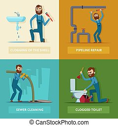 Concept pictures set of plumber at work. Pipeline repair, ...