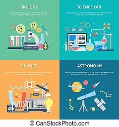 Concept pictures with science symbols. School laboratory for testing and analysis