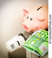 Concept Piggy, the valve on the radiator for saving energy and money