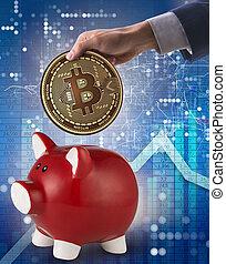 concept, piggybank, économie, bitcoin, business