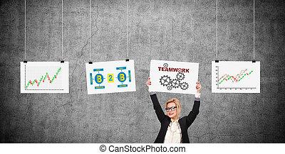 concept, plakkaat, vrouw, teamwork, vasthouden, tekening
