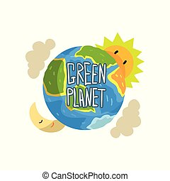 concept, planète, illustration, vecteur, écologie, fond, blanc vert, sauver