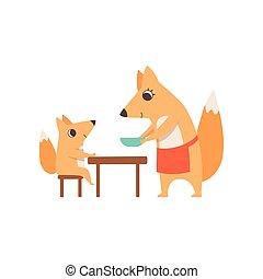 concept, plaque, servir, elle, séance, famille, renard, illustration, parenting, dîner, vecteur, enfant animal, mère, table, aimer