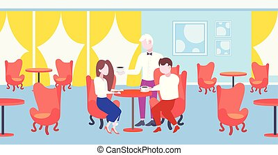 concept, plat, café, servir, séance, serveur, couple, moderne, restaurant, visiteurs, longueur, entiers, table, intérieur, hospitalité, horizontal, café, personnel