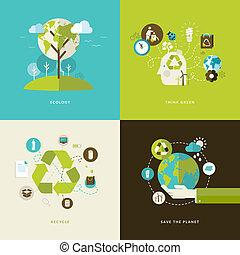 concept, plat, recyclage, icônes