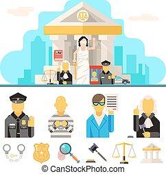 concept, plat, set, gerechtshof, iconen, justitie, symbool, illustratie, vector, ontwerp, achtergrond, wet, stad