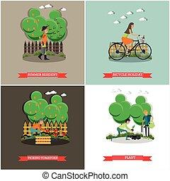 concept, plat, set, tuinieren, vector, banieren, affiches, design.