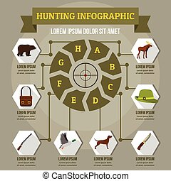 concept, plat, style, infographic, chasse