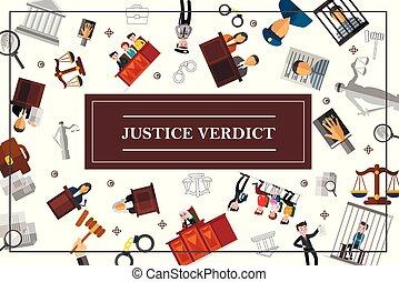 concept, plat, système, judiciaire, droit & loi