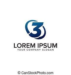 concept, pleinement, moderne, editable, nombre, créatif, 3, vecteur, conception, gabarit, logo