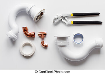 concept plumbing work top view on white background
