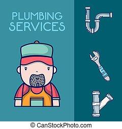 concept, plumbling, dienst