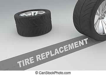 concept, pneu, remplacement