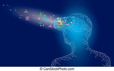 concept, point, poly, vr, helmet., bleu, casque à écouteurs, technologie, réalité virtuelle, polygonal, avenir, bas, innovation, géométrique, points, triangle, illustration, verre, connecté, appareil, ligne, fantasy., vecteur