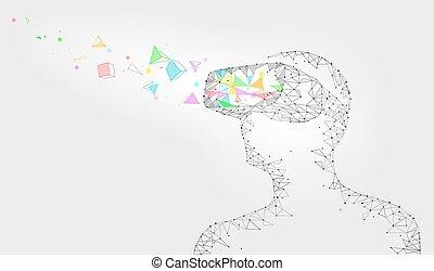 concept, point, poly, vr, helmet., casque à écouteurs, technologie, réalité virtuelle, polygonal, avenir, bas, innovation, géométrique, points, triangle, illustration, verre, connecté, appareil, ligne, blanc, fantasy., vecteur