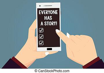 concept, pointage, couleur, texte, everyone, vide, ton, art conter, mémoires, contes, écriture, tenue, a, smartphone, business, screen., hu, toucher, fond, mains, dire, mot, analyse, story.