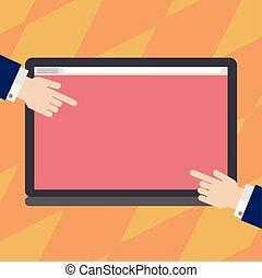 concept, pointage, couleur, texte, promotionnel, conception, vide, toile, tablette, gabarit, vide, business, écran, matériel, hu, mains, copie, côtés, deux, haut, analyse, railler, bannières