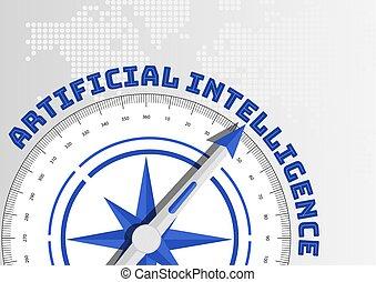 concept, pointage, intelligence, (ai), artificiel, vers, texte, compas