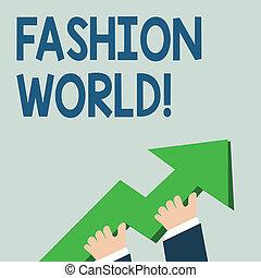 concept, pointage, texte, mode, habillement, haut., énorme, business, écriture, aller, tenue, photo, world., 3d, styles, coloré, main, mondiale, mot, apparence, flèche, implique