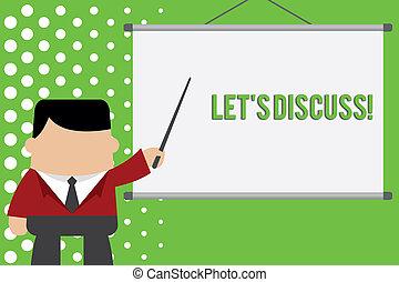 concept, pointage, texte, quelque chose, debout, idea., projecteur, discuss., écriture, demander, projection, quelqu'un, business, écran, laisser, démontrer, devant, sur, mot, projet, s, homme affaires, ou, parler