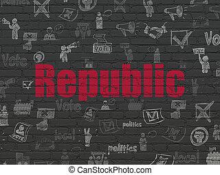 concept:, politique, fond, république, mur