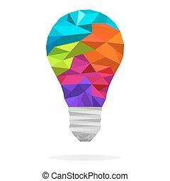 concept, polygone, lumière, idée, créatif, ampoule
