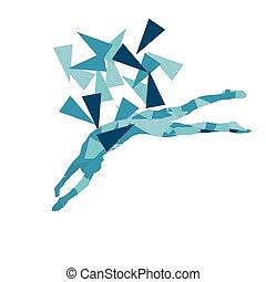 concept, polygone, nageur, résumé, illustration, vecteur, position, professionnel, fragments, fait, sauter