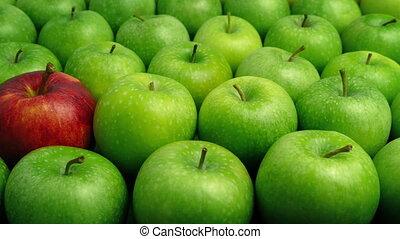concept, pomme, -, individu, pommes vertes, rouges