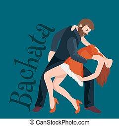 concept, poster, dans, helder, danser, partners, roomba, ballroom het dansen, costumes., volkeren, latino, paar, gelukkige vrouw, kizomba, bachata, illustratie, flyer, salsa, spandoek, man, vector, of