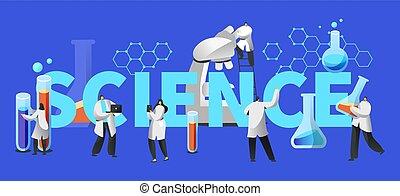 concept, poster., wetenschapper, ontwerp, laboratorium, opleiding, tube., flacon, vorsen uitrustingsstuk, test, plat, biologie, laboratorium, illustratie, spotprent, infographic, medisch, typografie, microscoop, vector, chemie
