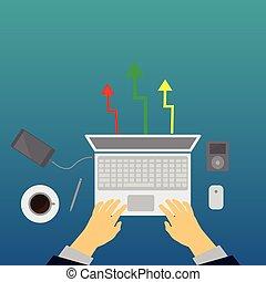 concept., posto lavoro, vista, cima, laptop