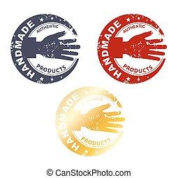 concept, postzegel, met de hand gemaakt, stamp-, hand, ouderwetse , grond