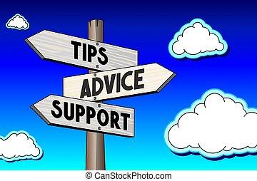 concept, poteau indicateur, conseil, -, trois, illustration, flèches