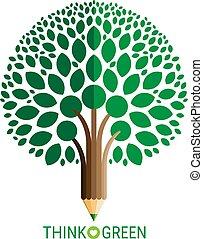 concept, potlood, bladeren, ecologie, boompje