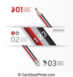 concept, potlood, gebruikt, zijn, /, creatief, vector, illustratie, mal, infographics, banieren, spandoek, groenteblik