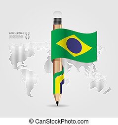concept, potlood, gebruikt, zijn, /, creatief, vlag, vector, illustratie, mal, infographics, banieren, spandoek, groenteblik