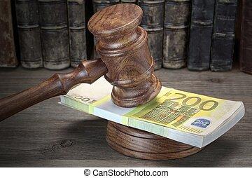 concept, pour, droit & loi, corruption, faillite, caution, crime, fraude, enchère, bidding.